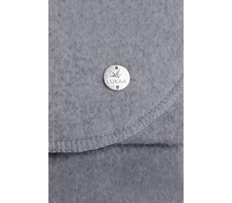 Maxi-Schal aus Bio-Baumwoll-Fleece dunkelgrau melliert