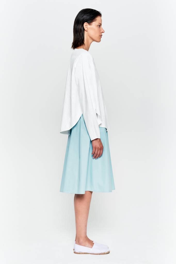 Shirt mit rundem Saum aus Bio-Baumwolle weiß-5