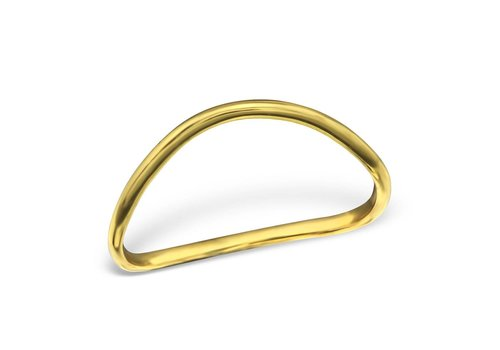 Asymmetric Ring in 925 sterling silver - relined Gold