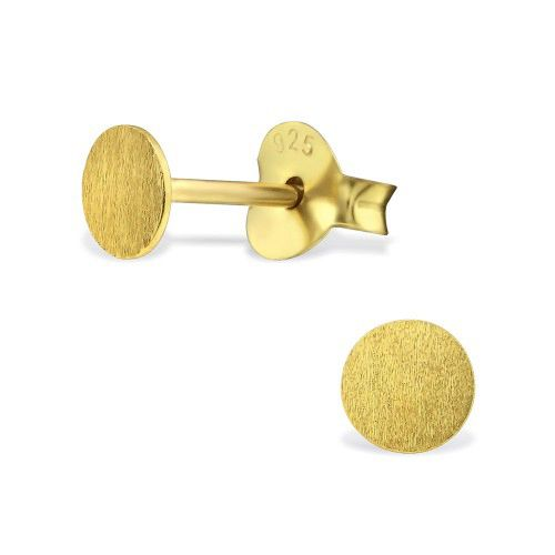 Zarter Ohrstecker rund aus 925er Sterling Silber - Gold doubliert matt-1