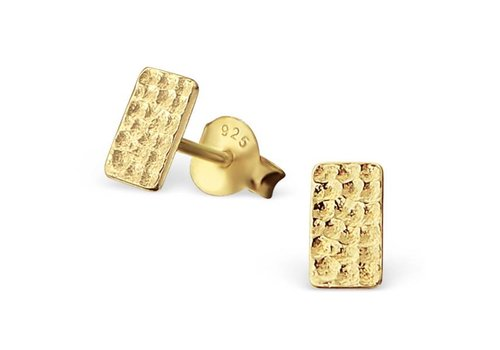 relined Gold - Purist Studs rectangle 925 sterling silver