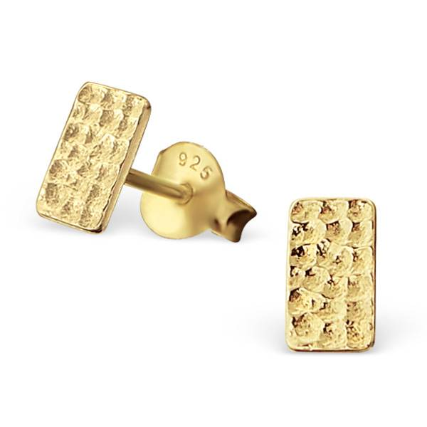 Purist Studs rectangle 925 sterling silver - Gold-1