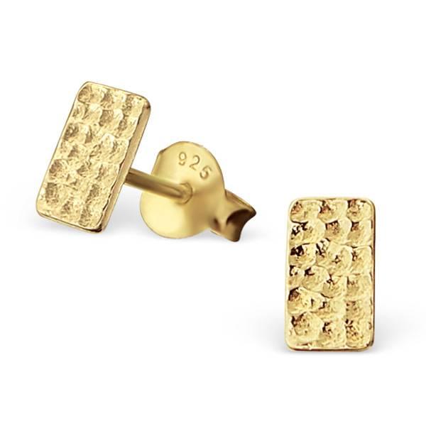 Puristische Ohrstecker Rechteck aus 925er Sterling Silber - Gold doubliert-1