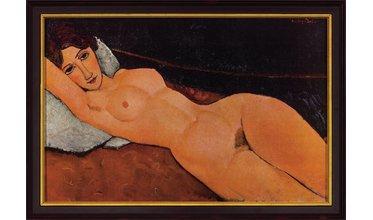 Modigliani, Liggend vrouwelijk naakt op een wit kussen (1917)