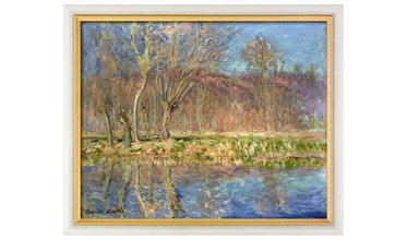 Monet, Bomen langs de oever, lente in Giverny (1885)