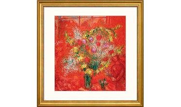 Chagall, Fleurs sur fond rouge (1970)