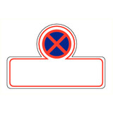 Veiligheidspictogram verboden te parkeren met tekst