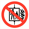 Pikt-o-Norm Pictogram verboden de lift te gebruiken bij brand