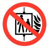 Veiligheidspictogram verboden de lift te gebruiken bij brand