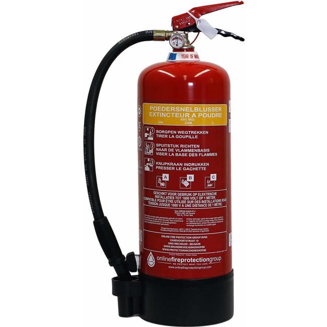 Brandbeveiligingshop Poederbrandblusser 6kg met BENOR-label (ABC) permanente druk