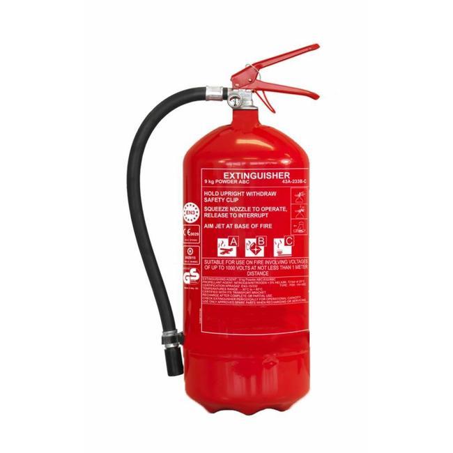 Brandbeveiligingshop Poederbrandblusser voor voertuigen 9kg met BENOR V-label (ABC) permanente druk