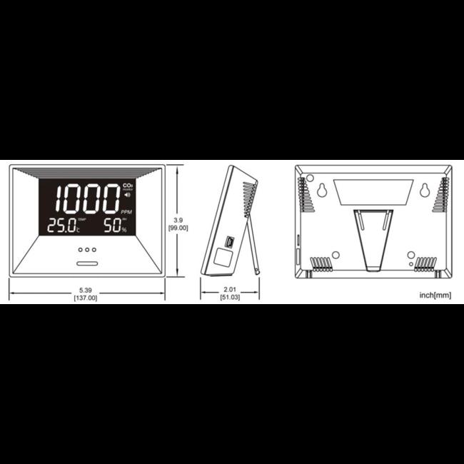 Econox Econox CO2-meter met temperatuur- en vochtigheidssensor
