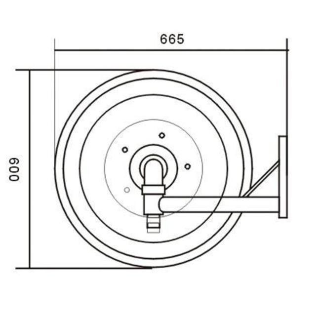 """Brandbeveiligingshop Brandhaspel automatisch zwenkbaar met 1"""" blusslang"""