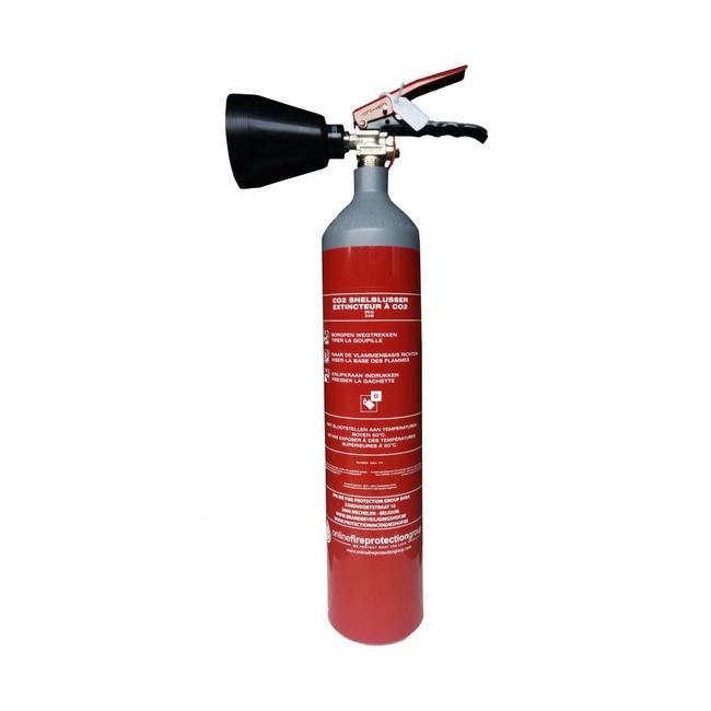 Brandbeveiligingshop CO2-brandblusser 2kg staal met BENOR-label (B) permanente druk