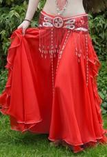 Bauchtanzrock mit Bänder in rot, Größe S/M