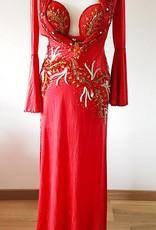 Kleid bestickt mit BH in rot - Unikat!
