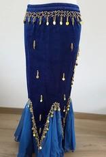 Bauchtanz Samtrock in blau gold