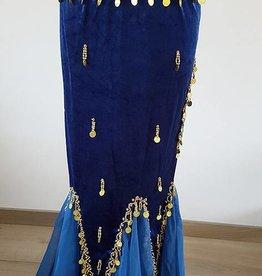 Belly dance velvet skirt in blue/gold
