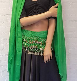 Green hip scarf and half round veil