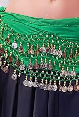 Chiffon-Münztuch und Halbrundschleier gleicher Farbe (grün)