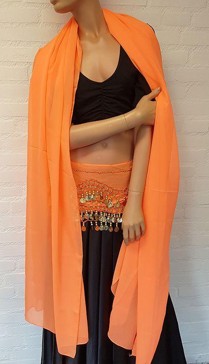 Chiffon-Münztuch und Halbrundschleier gleicher Farbe (orange)