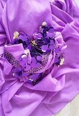 Purple hip scarf and half round veil