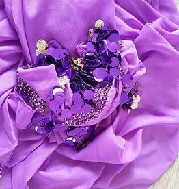 Purple hip scarf and half round veil