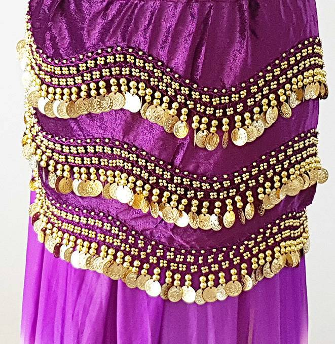 Velvet hip scarf purple with gold coins