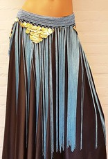 Turquoise hip scarf with long fringes and gold coins