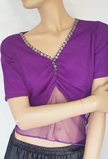T-shirt with net tulle in purple