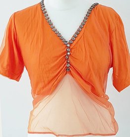 T-shirt with net tulle in orange