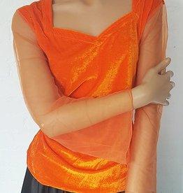Velvet shirt with net tulle arms