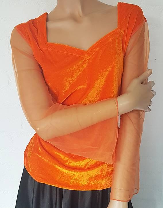 Velvet shirt with net tulle arms  orange