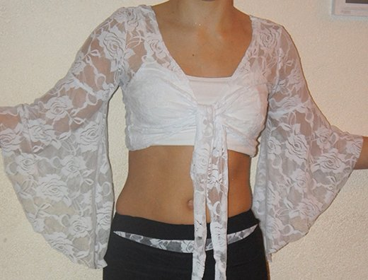 Lace Top white with trumpet arms