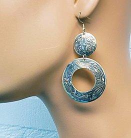 Oriental design earrings in old silver