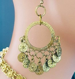 Oriental gold earrings with little coins