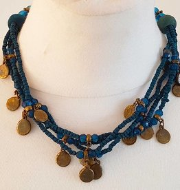 Blue necklace with old coins