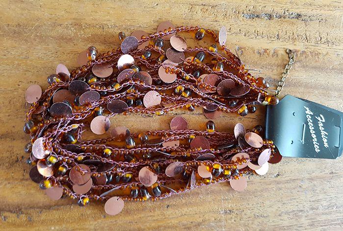 Sakkara Halskette braun mit Glasperlen und Pailletten