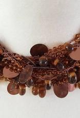 Halskette braun mit Glasperlen und Pailletten