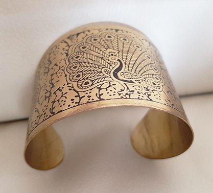 Copper bracelet  peacock