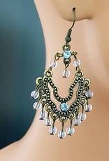 Ohrringe altgold mit blauen Steinen
