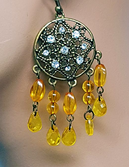 Chandelier-Ohrringe altgold-bernstein