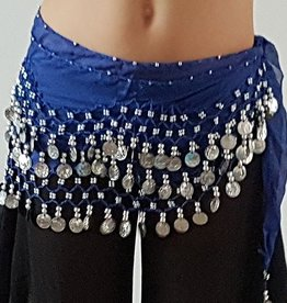 Hip scarf blue with silver coins