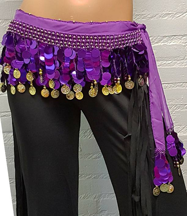 Sakkara Chiffon-Münztuch und Halbrundschleier gleicher Farbe (lila)