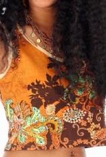 Sakkara Ärmelloses Flowerprint-Shirt braun-meliert