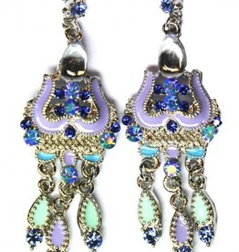 Earrings with rhinestones blue/purple