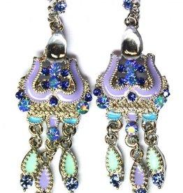 Ohrringe mit klare Strass-Steine in blau/lila Silber