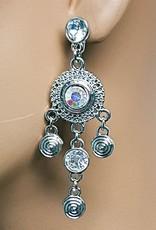 Ohrringe mit klare Strass-stein in Silber