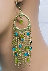 Gold oriental style earrings with lime and petrol green stones