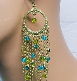 Gold oriental style earrings